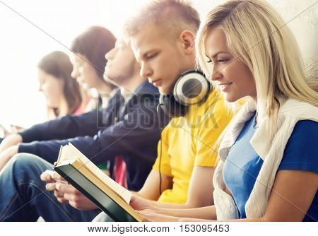 Group of hipster student on a break. School and education concept.