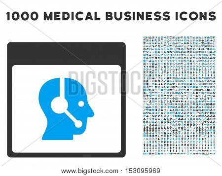Blue And Gray Call Center Operator Calendar Page glyph icon with 1000 medical business pictograms. Set style is flat bicolor symbols, blue and gray colors, white background.
