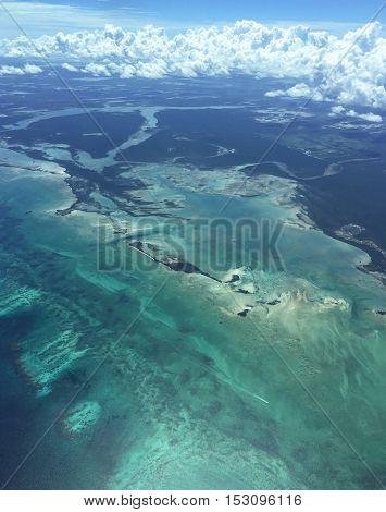 Aerial view of uninhabited Bahamas islands.