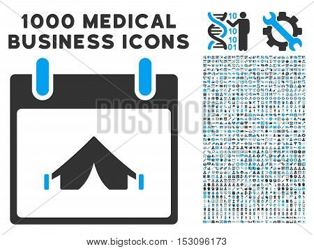 Blue And Gray Camping Calendar Day glyph icon with 1000 medical business pictograms. Set style is flat bicolor symbols, blue and gray colors, white background.