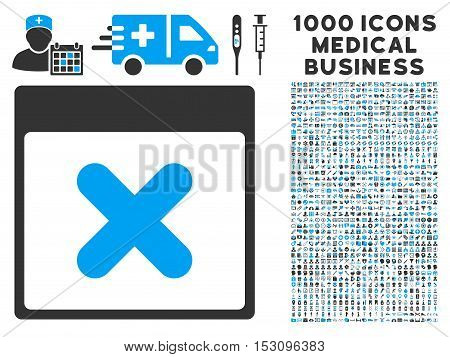 Blue And Gray Cancel Calendar Page glyph icon with 1000 medical business pictograms. Set style is flat bicolor symbols, blue and gray colors, white background.