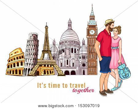 Colored europe travel tour characters composition with couple in love in the foreground vector illustration