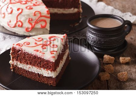 American Red Velvet Cake Sliced Close-up. Horizontal