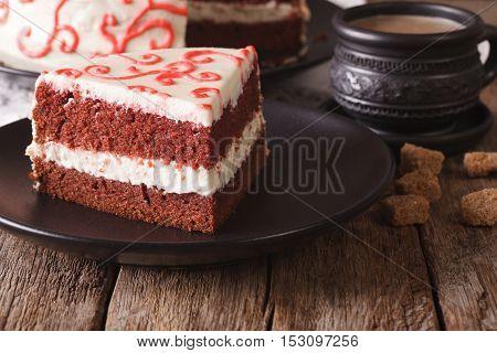 Beautiful Delicious Slice Of Red Velvet Cake Macro. Horizontal