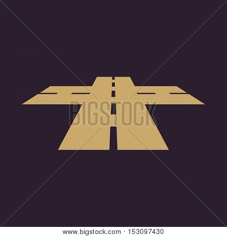 The crossroads icon. Crossway and crossing, intersection, road,  route symbol. Flat Vector illustration