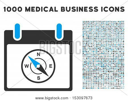 Blue And Gray Compass Calendar Day glyph icon with 1000 medical business pictograms. Set style is flat bicolor symbols, blue and gray colors, white background.