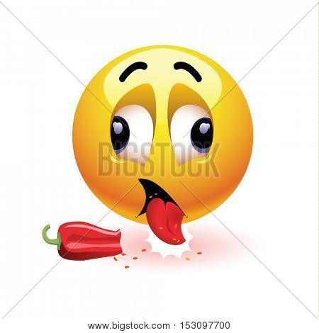 Very hot chili pepper causing pain and fear with smiley who eats it. Humoristic vector illustration. Smileys eating chili. Making funny faces. Shock because of the first bite.