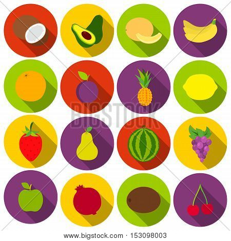 Fruits set icons in flat style. Big collection fruits vector symbol stock