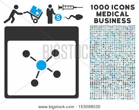 Blue And Gray Connections Calendar Page glyph icon with 1000 medical business pictograms. Set style is flat bicolor symbols, blue and gray colors, white background.