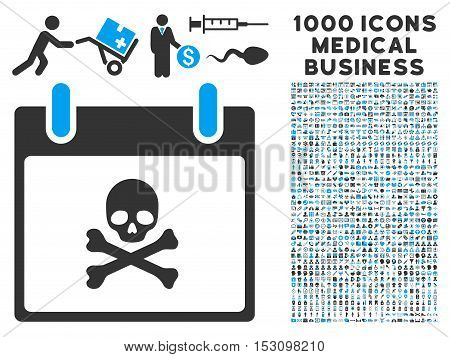 Blue And Gray Death Skull Calendar Day glyph icon with 1000 medical business pictograms. Set style is flat bicolor symbols, blue and gray colors, white background.