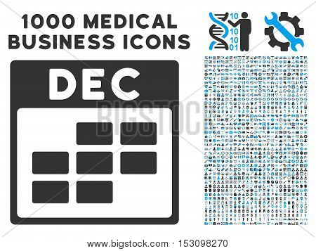 Blue And Gray December Calendar Grid glyph icon with 1000 medical business pictograms. Set style is flat bicolor symbols, blue and gray colors, white background.