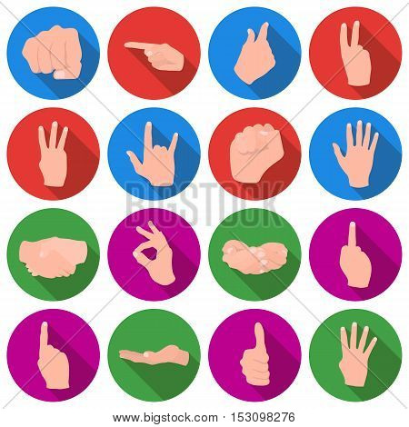 Hand gestures set icons in flat style. Big collection hand gestures vector symbol stock