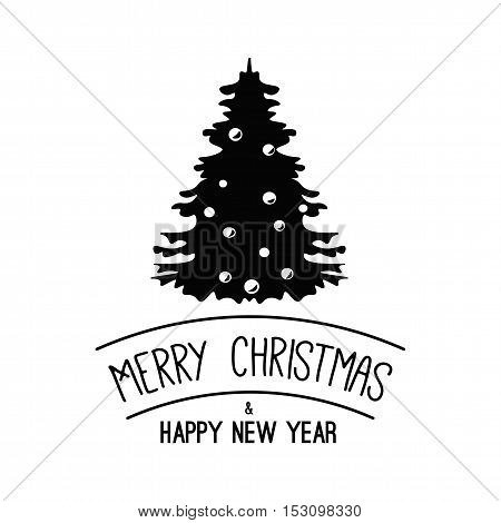 Christmas Tree. Merry Christmas and Happy New Year Label. Template for Greeting cards. Vector Illustration