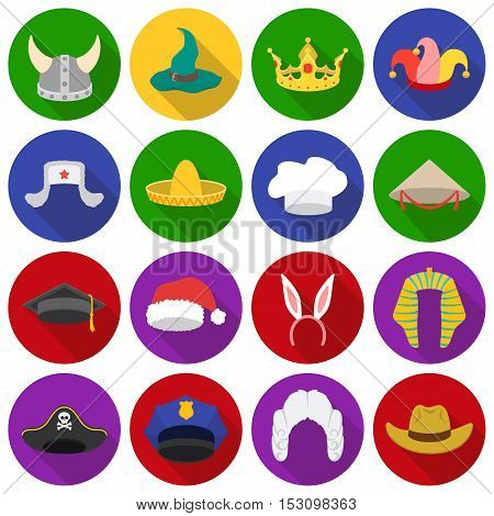 Hats set icons in flat style. Big collection hats vector symbol stock