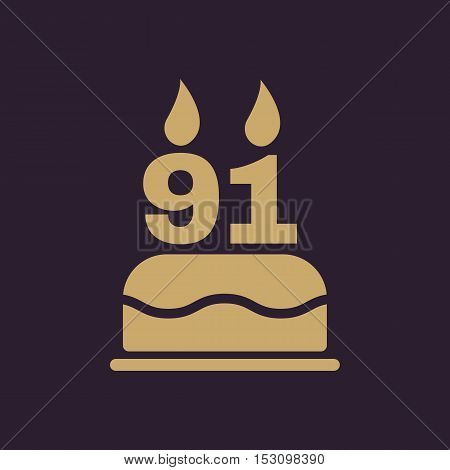 The birthday cake with candles in the form of number 91 icon. Birthday symbol. Flat Vector illustration