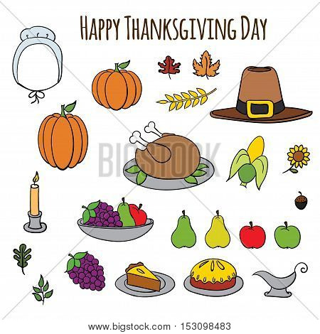 Set of colorful cartoon icons for thanksgiving day.