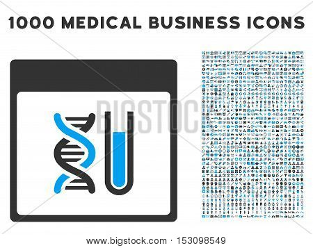 Blue And Gray DNA Analysis Calendar Page glyph icon with 1000 medical business pictograms. Set style is flat bicolor symbols, blue and gray colors, white background.