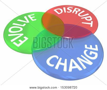 Change Evolve Disrupt Innovate New Idea Venn Circles 3d Illustration