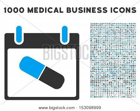 Blue And Gray Drugs Pill Calendar Day glyph icon with 1000 medical business pictograms. Set style is flat bicolor symbols, blue and gray colors, white background.