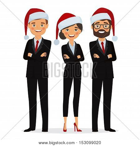 Business people dressed in Christmas hats. Businessman and businesswoman dressed in Christmas hats and in business suits