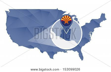 Arizona State Magnified On United States Map.