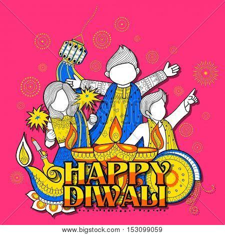 illustration of kid celebrating happy Diwali Holiday doodle background for light festival of India