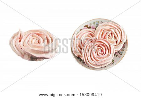 Meringue Cakes In The Form Of Roses Isolated