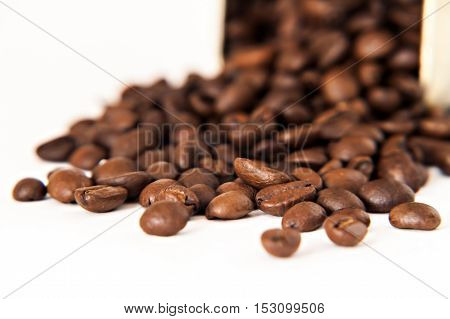 Coffee Beans Are Scattered From Stain-roof Bank Isolated