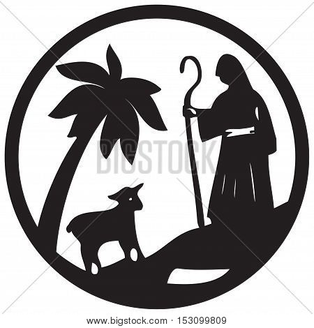 Shepherd and Sheep silhouette icon vector illustration black on white background. Scene of the Holy Bible