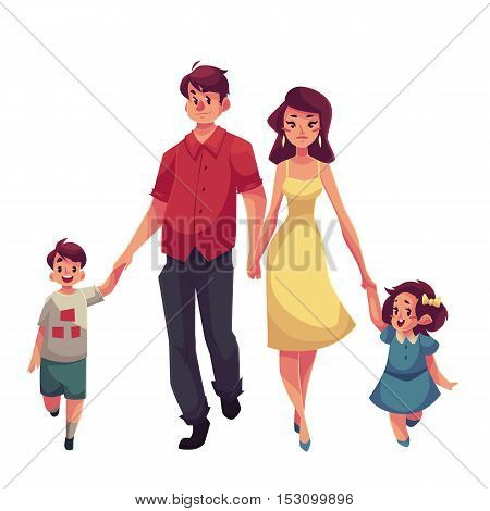 Father, mother, daughter and son, cartoon vector illustrations isolated on white background. Young beautiful mom wolking with her daughter, dad holding his son hand, happy family concept