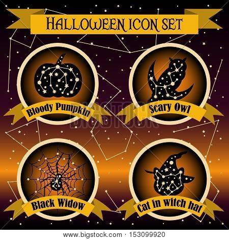 Halloween icons set with constellation. Halloween elements. Halloween background. Halloween party. Bloody pumpkin, scary owl, black widow, cat in witch hat.