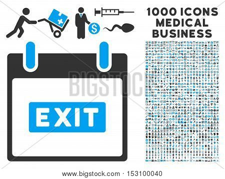 Blue And Gray Exit Caption Calendar Day glyph icon with 1000 medical business pictograms. Set style is flat bicolor symbols, blue and gray colors, white background.