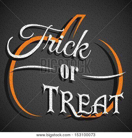 Trick or treat card design. Halloween background with pumpkin.