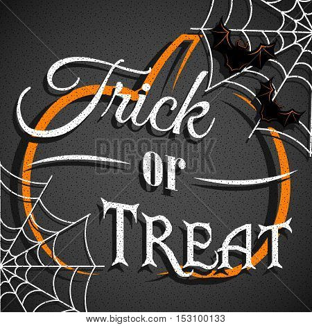 Trick or treat card design. Halloween background with pumpkin, web and bats.
