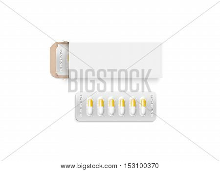 Blank white pill box design mockup clipping path 3d illustration. Clear blister pillbox template mock up isolated. Opened tablets cardboard container. Blister pill boxing with drug capsule branding