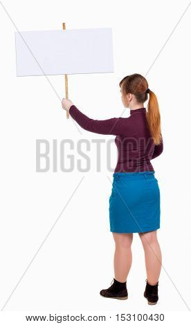 Back view woman showing sign board. man holds information plate. Rear view people collection. backside view of person. Isolated over white background. Girl in blue skirt holding a poster.