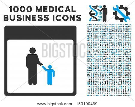 Blue And Gray Father Calendar Page glyph icon with 1000 medical business pictograms. Set style is flat bicolor symbols, blue and gray colors, white background.