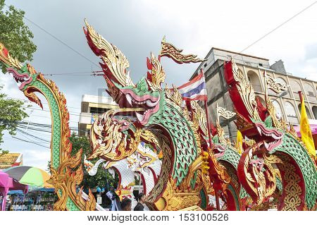 Suratthani, Thailand - October 20, 2016: Details On Ornamented Carriers Of Buddha Images To Be Pulle