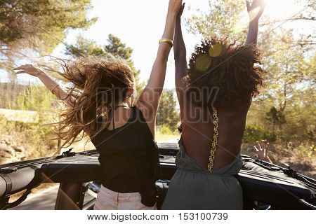 Two excited women stand in the back of open car, back view
