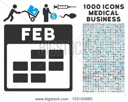 Blue And Gray February Calendar Grid glyph icon with 1000 medical business pictograms. Set style is flat bicolor symbols, blue and gray colors, white background.