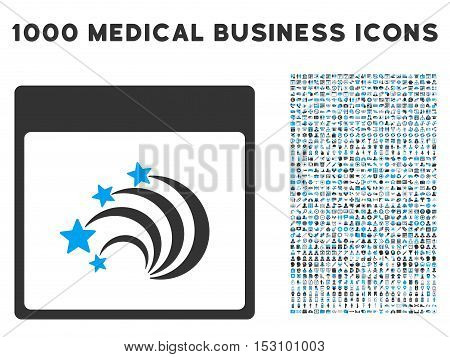 Blue And Gray Festive Fireworks Calendar Page glyph icon with 1000 medical business pictograms. Set style is flat bicolor symbols, blue and gray colors, white background.