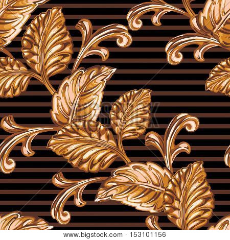 Seamless pattern of decorative bronze floral element.