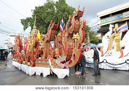 Suratthani, Thailand - October 20, 2016: Ornamented Carriers Of Buddha Images To Be Pulled Across Th