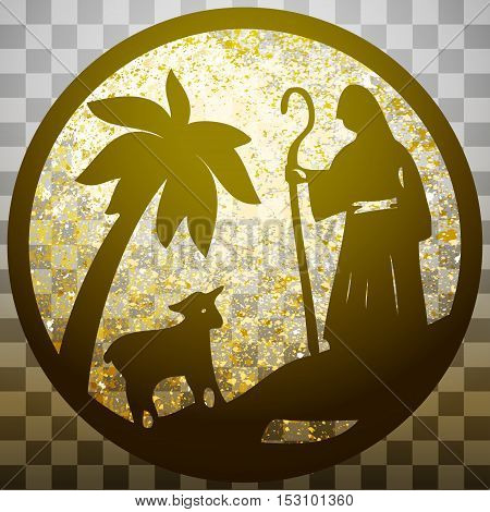 Shepherd and Sheep silhouette icon vector illustration gold on gray transparent background. Scene of the Holy Bible