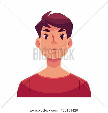 Young man face, neutral facial expression, cartoon vector illustrations isolated on white background. Handsome boy emoji feeling glad, serene, relaxed, delighted. Neutral face expression