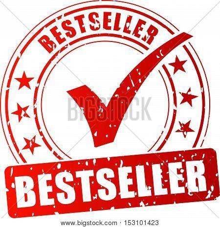 Illustration of bestseller red stamp on white background