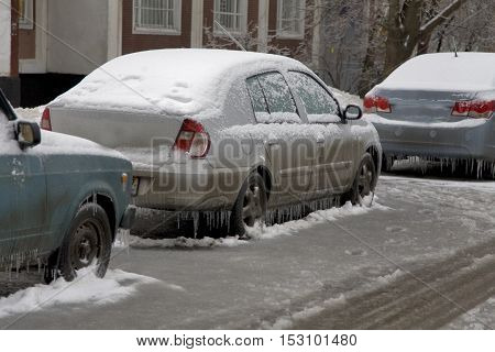 Winter windshield wipers for cars. Transportation winter weather and vehicle concept