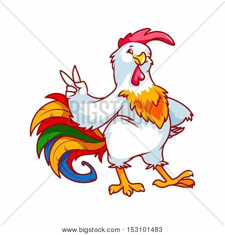 Colorful rooster. Symbol of 2017. Vector cartoon character on a white background.