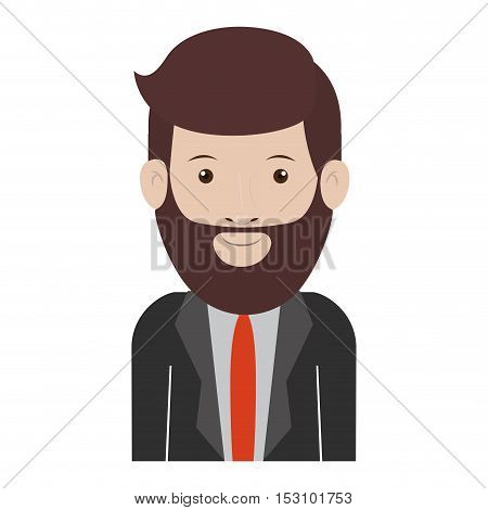avatar male man smiling with beard and wearing suit and tie over white background. vector illustration