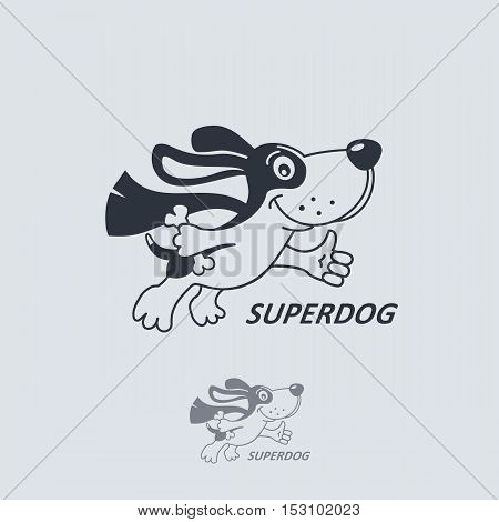 Funny cartoon dog in superhero costume flying with thumb up and bone. Vector logo template.